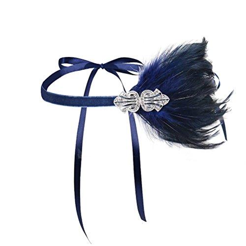 Lurrose Flapper Headpiece Grand Gatsby Bandeau Bandeau Plume Fascinator autruche plume Costume Party accessoires de cheveux de mariage (bleu marine)