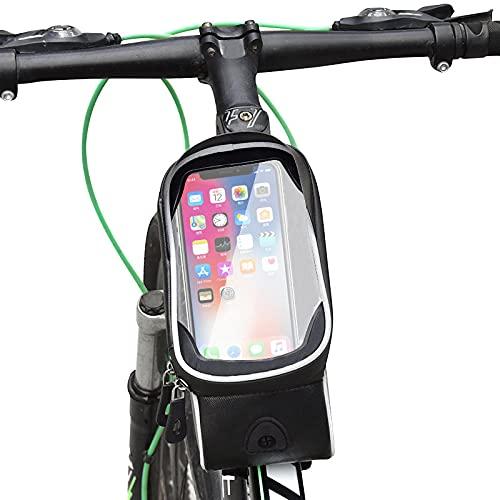 CXVXC Bolsa Impermeable para Cuadro, Ideal para navegación Bolsa Impermeable móvil-Negro 02_7.5 Pulgadas Funda para Manillar, Accesorios para Bicicleta