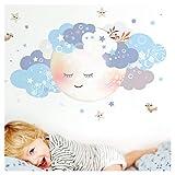 Little Deco Wandaufkleber Kinderzimmer Junge Mond & Wolken weiß blau I M - 65 x 32 cm (BxH) I Wandtattoo Baby Wandsticker Deko Zimmer DL244