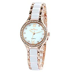 Gold-White Two-Tone Quartz Waterproof Wristwatch With Rhinestones