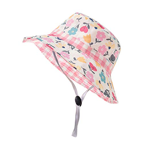 liulangzhe No1 Baby Sonnenhut mit UPF 50+ Baby Girl Bucket Hat Outdoor Verstellbarer Strandhut mit breiter Krempe für Babys