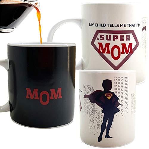 InGwest. Funny Coffee Mug for Super Mom. Best Mom Ever. 11 ounce. Changing Color Mug. Ceramic Heat...