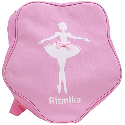 Pink Kids Girls Bag for Competition Dance Ballet Gym + Beauty Pouch by Ritmika Garment and Shoes Bag with Embroidery of Dancing Girl