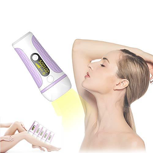 Dispositivo de depilación, depiladora láser IPL 500000 Depilación permanente sin dolor pulsada Adecuado para mujeres y hombres axilas, piernas, línea de bikini (púrpura)