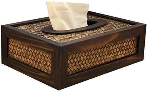 Cubierta de Madera para Caja de pañuelos faciales - Servilletero Rectangular, contenedor de Papel Vintage para Coche, Oficina, Hotel, hogar