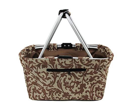MQSHYPDT LYX® Ablagekorb, Faltbarer Einkaufskorb Ablagekorb Ablagekorb Mode Tragbarer Einkaufskorb Picknick-Tasche Braun 29000ml