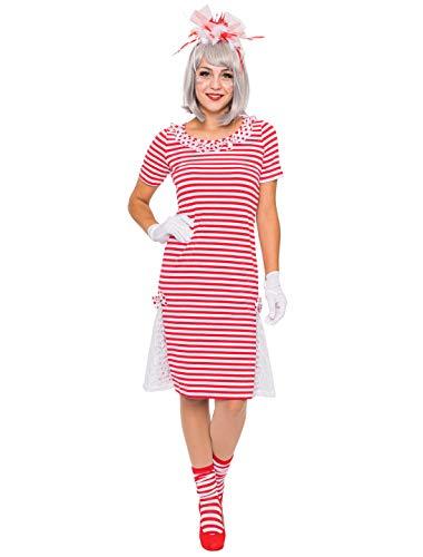 Deiters Ringelkleid rot/weiß mit Spitze XL Größe: XL