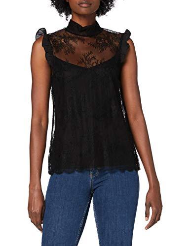 Morgan Tshirt Manches Courtes Dentelle Col Montant Dimbi Camiseta, Negro, TS para Mujer