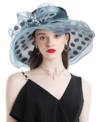 Z&X Women Kentucky Derby Church Hat Polka Dots Organza Wide Brim Sun Cap Bridal Wedding Tea Party Fascinator Hat Blue