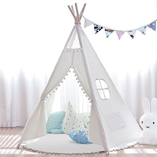 JOYNOTE Teepee Kids Tent with Thick Mat...