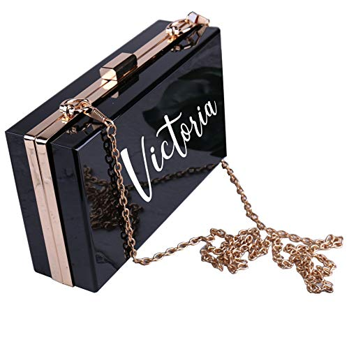 Bolso de hombro de acrílico personalizado con adhesivo de vinilo personalizado de PVC blanco con cadena dorada para regalo de boda o dama de honor, color Negro, talla Small