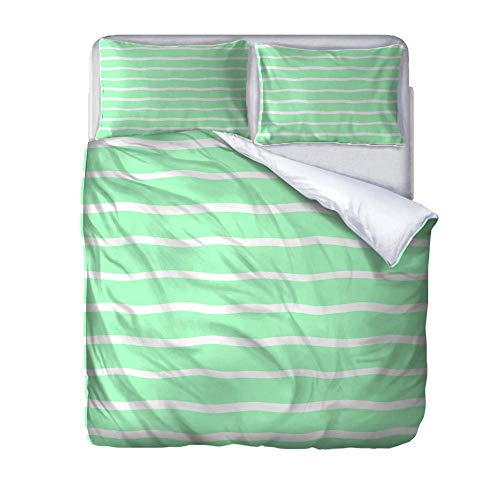 zzqxx Home Superking Duvet Cover Set Wavy stripes Bed Set Quilt Cover with Zipper Soft 100% Polyester Includes 2 Pillow Cases 3D Printed Bedding for Boys Girls Adults 260x220cm