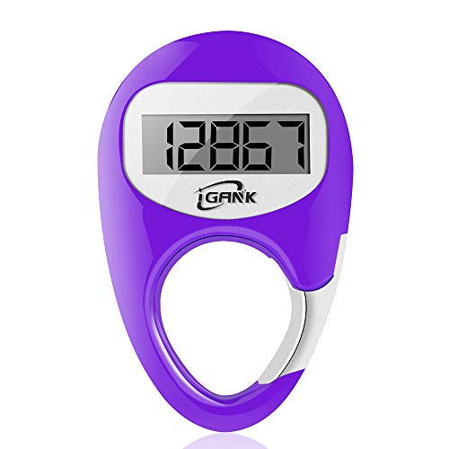 iGANK Simple Walking Pedometer Step Counter for Men Women Kids (Purple)