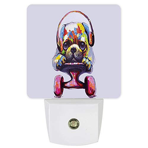 Plug-in Night Lights Cute Headphone Dog Play with Pulley LED Night Lamp with Auto Dusk-to-Dawn Sensor Warm White Light& Ultra Low Power for Bedroom/Bathroom/Hallway/Kid's Room