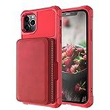 LAHappy Estuche Billetera Funda para iPhone 12 Pro MAX, PU Leather Protective Cover con Ranura para Tarjeta Anti-Choque Protección Cáscara para iPhone 12 Pro MAX,Rojo