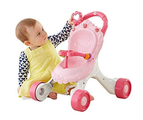 Fisher-Price Princess Mommy Stroll-Along Musical Walker, Baby Walker with Activities, Music and Sounds, Toy for Age 9-36 Months