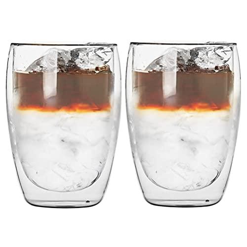CENBEN 2 Pcs 350 ML Vaso Doble Pared Tazas Cristal Vaso Doble Pared Cristal,Tazas de Cristal Café Espresso Transparente,Resistente al Calor para Bebida,Café,Té,Leche,Cerveza