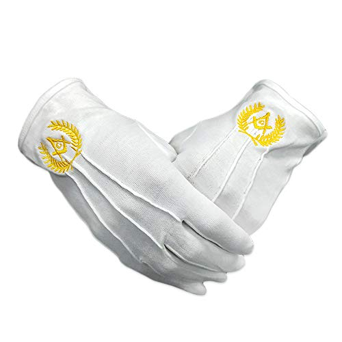 White Cotton Master Masonic Gloves Hand Embroidered Gold Square Compass