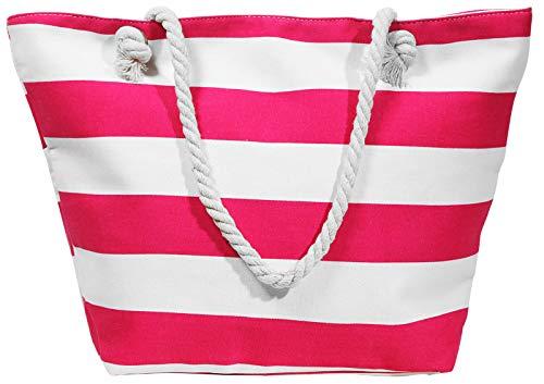 Beach Bag Streifen pink Strand- Sauna- Schwimmbadtasche Blockstreifen in 6 Farben erhältlich
