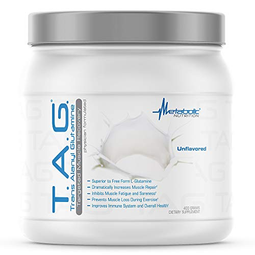 Metabolic Nutrition | T.A.G. (Trans Alanyl Glutamine) | 100% L-Glutamine Peptide Powder | Pre, Intra, Post Workout Supplement, Creatine | Muscle Building| 400 Grams (40 Servings) Unflavored