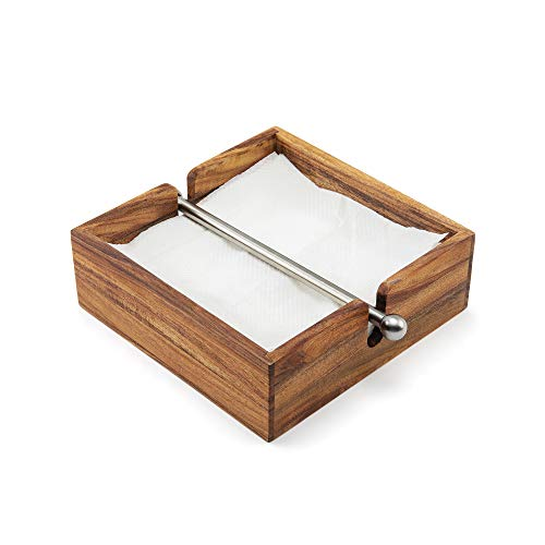 Ironwood Gourmet 28982 Acacia Wood Napkin Holder with Weighted Stainless Steel Center Bar, 6.25-Inches, Brown