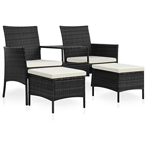 Festnight 7-TLG. Gartensofa-Set Garten Sofagarnitur Gartenmöbel Sitzbank mit Teetisch inkl. Fußhocker und Sitzpolster   Polyrattan + Stahlrahmen   für Garten Terrasse oder Balkon