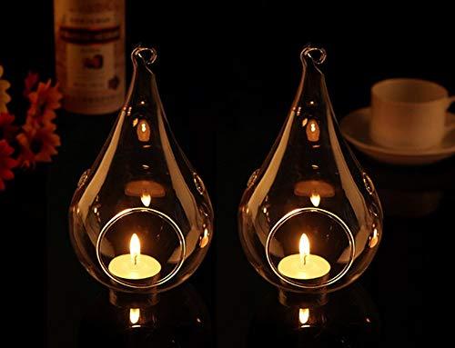 Warmiehomy 6 X Hängende Teelicht Kerzenhalter Teelichthalter Muster Glas Pflanze Blumenvase mit Flügel Weihnachten Dekoration