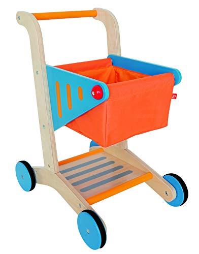 Hape E3123 Shopping Cart/FSC E3123-Einkaufswagen, Kaufläden Zubehör, Natural. orange