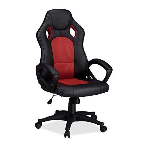 Relaxdays Gaming Stuhl XR9, Zocker Drehstuhl, bequemer Chefsessel m. Höhenverstellung, Racing Design, schwarz-rot