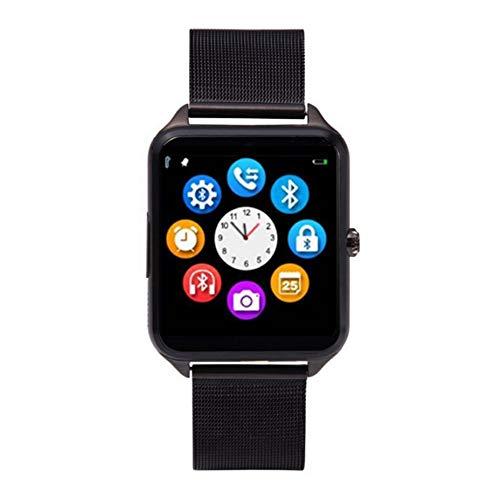 Z60 Smartwatch, 3,9 cm (1,54 Zoll), Bluetooth, mit Kamera, Unterstützung SIM-Karte, TF-Karte, Stahlband für iOS für Android (schwarz)