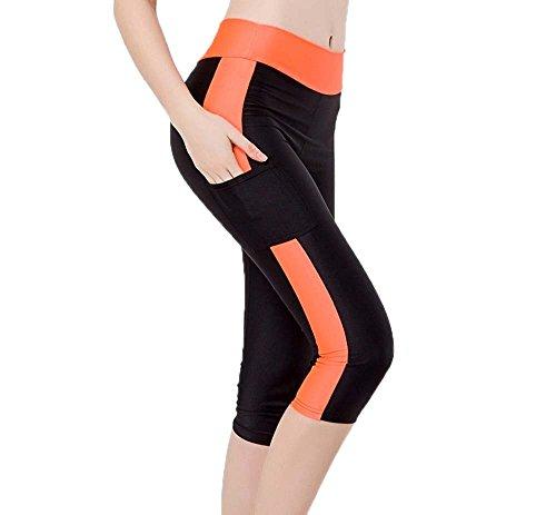 Hellomiko Femmes Yoga Leggings Power Taille Haute avec Téléphone Pocket Gym Running 3/4 Collants 10 Couleurs S-XL