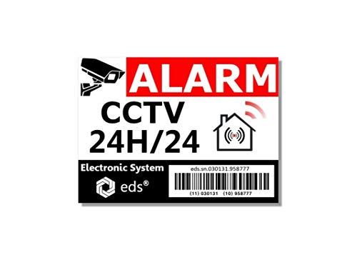 Set mit 8 Aufklebern für Alarmanlagen, CCTV-Barcode-Alarm, Einbruchschutz, für Haus, Gebäude, Geschäft, Garage, Sonnen- und Wasserfest und professionelle Qualität.
