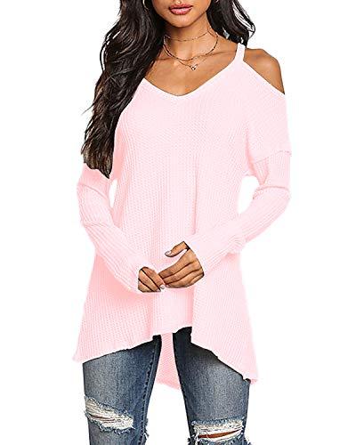 YOINS Pullover Damen Oberteile Elegante Sexy Langarmshirt Blusen Top V-Ausschnitt T-Shirts,XL, Aktualisierung-rosa