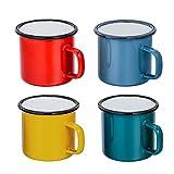 TEAMFAR - Juego de 4 Tazas de té y café, esmaltadas, para casa, Oficina, Fiesta, Camping, Pintura Colorida (Rojo/Azul/Verde/Amarillo) - 350 ml (12 onzas)