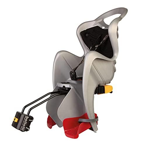 b bellelli Mr Fox - Seggiolino Posteriore per Bicicletta - per Bambini Fino a 22 kg, da 3 a 8 Anni - Si Fissa al Telaio, Reclinabile - Argento