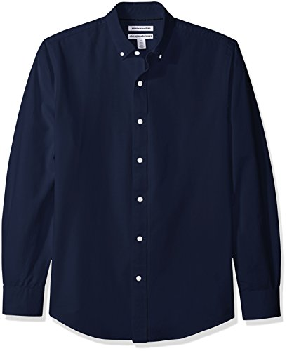 Amazon Essentials Men's Slim-Fit Long-Sleeve Solid Oxford Shirt, Navy, X-Large