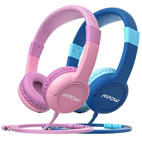 Mpow Kopfhörer Kinder CH1S 2 Stück Kopfhörer für Kinder mit Lautstärke- und Mikrofonsteuerung, 85dB Lautstärke Begrenzung Gehörschutz & Musik-Sharing, Material in sicherer Lebensmittelqualität