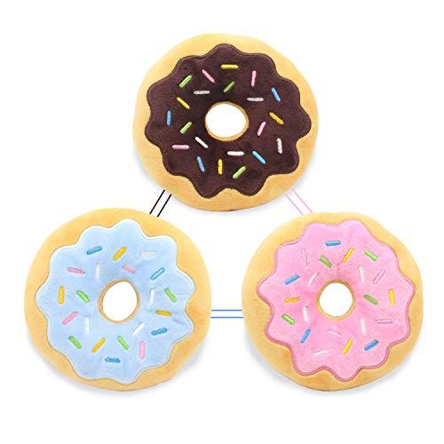 Hengu Donut Plüschspielzeug Quietschendes Kauspielzeug Hundespielzeug Set für Kleine und Mittelgroße Welpen Hunde Haustiere Interaktives Spielzeug (3 Stüke)
