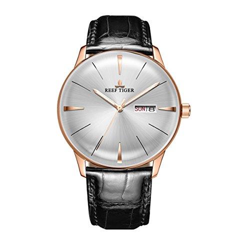 REEF TIGER Herren Uhr analog Automatik mit Leder Armband RGA8238-PWB