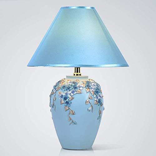 BJLWTQ Rústico Europea Estilo Retro Creativo de la lámpara de la Sala Dormitorio de Noche Pantalla de la Tela Hotel Blue Tallada Tabla de la Resina Decorativa Lámpara 30x30x43cm Clásico Noble
