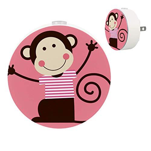 2 Pack Kids LED Night Light Cute Animal Monkey Pink, Plug-in Nightlight with Dusk-to-Dawn Sensor, Soft Lighting for Baby Breastfeeding Sleep Bedroom Bathroom Nursery Home Decor (2 Pack)