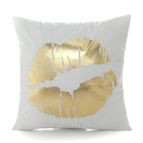 N/F Simple Gold Stamping Pillowcase Cotton And Linen Car Sofa Cushion Home Car Bedroom