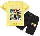 Silver Basic Sonic The Hedgehog Pijamas para Niños Conjunto de Camiseta y Pantalones Cortos de Manga Corta Pijamas para Niños Sonic Cosplay Disfraz Sonic Shirt 100,Amarillo Sonic Team-2