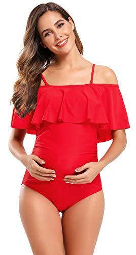 SHEKINI Damen Volants Schwangere Badeanzug Trägerlos Raffung Einteiliger Bikini Grosse Grössen Rückenfrei Schwarz Umstandsbademode (XXX-Large, Rot)