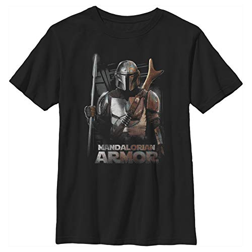 Boy's Star Wars The Mandalorian Din Djarin Beskar Armor T-Shirt - Black - X Large