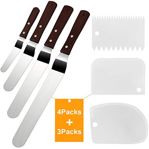 Cake Icing Spatula Set of 4 Packs(10'+8'+6'+4') and Cake Smoother Scraper Set of 3 Packs, Professional Stainless Steel Offset Spatula with Wooden Handle