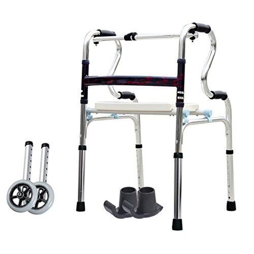 Leichte 3,6 kg Faltbare Rollator Walker Aid 4 Beine Gehstock Einstellbare Höhe Steh Toilettenrahmen für Erwachsene Senioren Behinderte   mit Bad Duschsitz / 2 Rad / Anti-Rutsch-Fußmatte   Aluminiumle