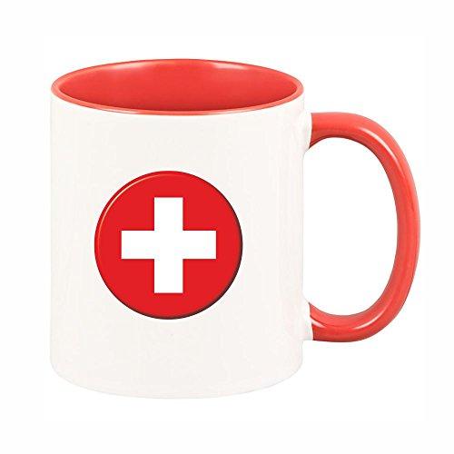 4you Design Tasse Schweizer-Flagge (mit rotem Henkel) Kaffeetasse, Kaffeebecher, Geschenkidee, Geburtstagsgeschenk, Geburtstag, Mitbringsel, Andenken, Gastgeschenk, Hansestadt Buxtehude