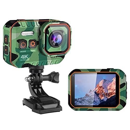 BSTQC Cámara de acción, cámara de acción Ultra HD 4k con WiFi 1080P 170 Grados subacuático Impermeable Mini cámara Deportiva Cámara de grabación de Video de Buceo