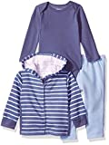 Hanes Ultimate Baby Zippin Zip Pant with Bodysuit and Fleece Hoodie, Blue/Light Blue Stripe, 0-6 Months